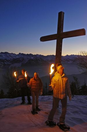 Torch-lit walk on Mt. Rigi