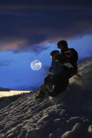 Night-time sledging on Mt. Rigi