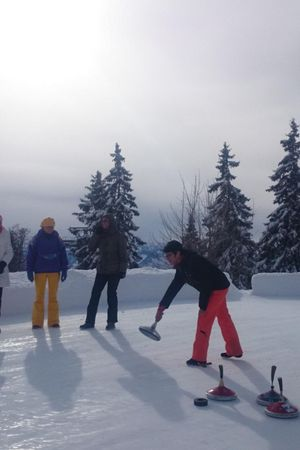 Ice stick shooting on a natural ice rink